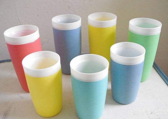 Colorful Set of Tall and Short 1960's Bolero Tumblers