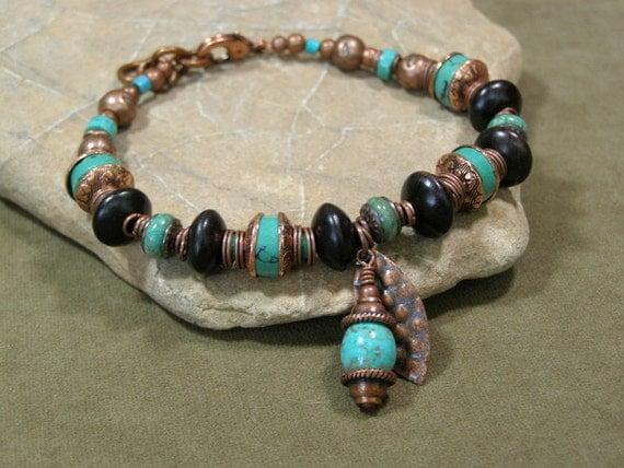 turquoise bracelet copper bracelet bohemian bracelet