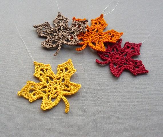 4 crochet maple leaf ornaments multicolored autumn leaves. Black Bedroom Furniture Sets. Home Design Ideas