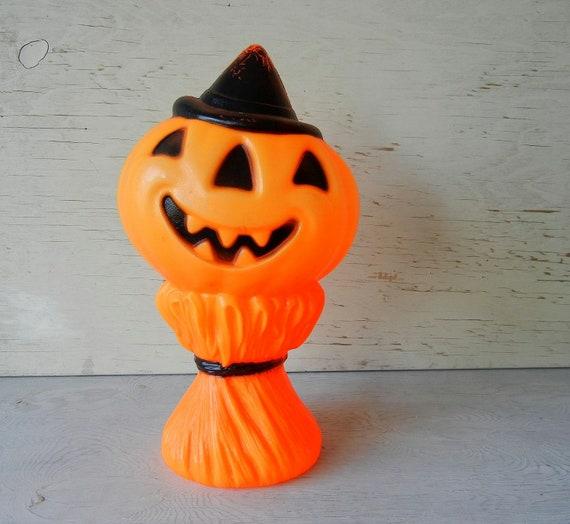 Vintage Halloween Pumpkin Blow Mold Figurine from Empire circa 1969