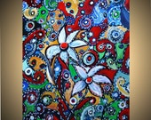 Original Abstract Modern Painting Whimsical Art on Canvas COLORS LIGHTS and FLOWERS 24x18