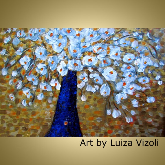 Original Modern Flowers Bouquet on Gold Palette Impasto Textured Painting on Large Canvas by Luiza Vizoli