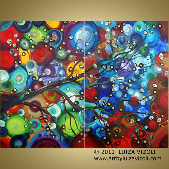 Original Large Painting HUGE Modern Fantasy Landscape Colorful Oil Artwork WISHES TREE 48x36 by Luiza Vizoli
