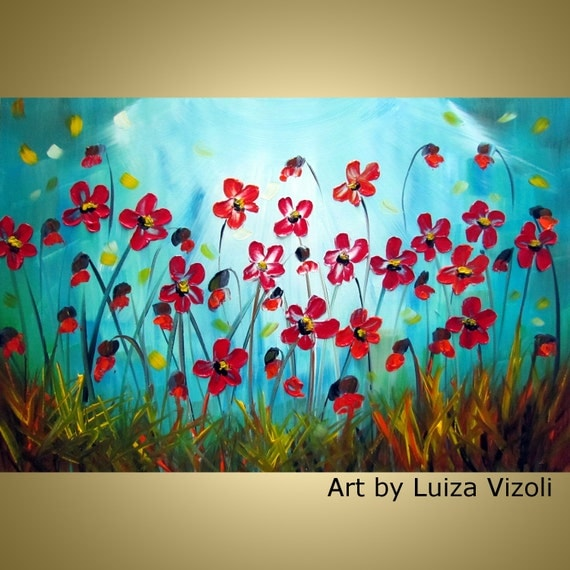 Red Flowers Original Painting Modern Palette Impasto Abstract Artwork Wall Decor by Luiza Vizoli