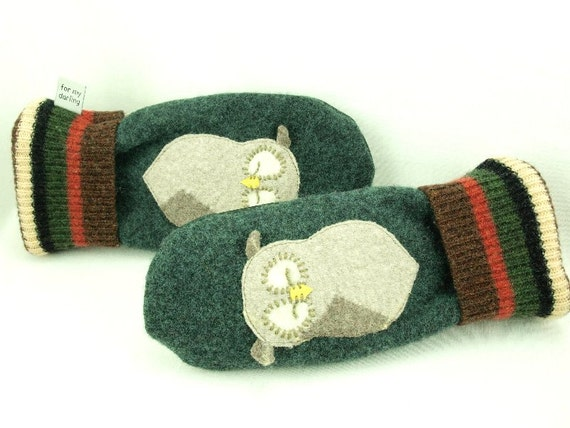 Owl Sweater Mittens Wool Mittens Felt Mittens Dark Green Beige Brown Owl Applique Fleece Lining Leather Palm Eco Friendly Upcycled Size M-ML