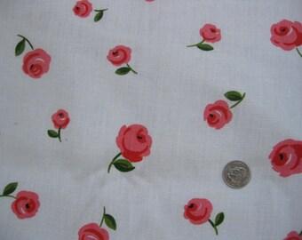 1960s Pink Roses Print Linen Yardage - 3 Yards