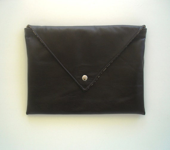 Very Large Leather Envelope Clutch