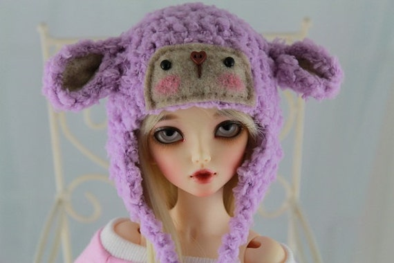 Lavender Lamb Hat for MSD BJD, 1/4 Dollfie, Minifee