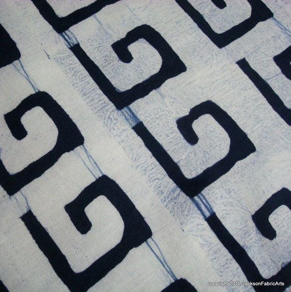 Linen Tea Towels in Navy Blue -- Key of Gee pattern