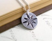 Compass Necklace Sterling Silver Compass Necklace Compass Rose Nautical Necklace Maid Of Honor Beach Wedding Fine Silver PMC