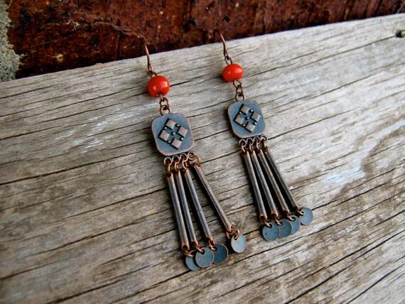 Boho Red Fringe Earrings Red Rustic Geometric Antiqued Copper Dangle Chandelier Earthy Earrings Red Beaded Long Metal Earrings Boho Fashion
