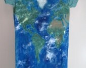 Planet Earth on a shirt (handpainted, OOAK)