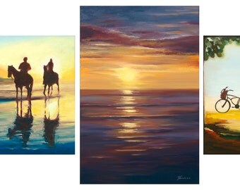 "SET of 3 - Giclee on 8 1/2""x11"" fine art paper by Daina Scarola (sunset, horses, bicycles, beach) Free Shipping"