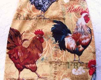 Plastic Bag Holder - Grocery Bag Holder - Roosters - Kitchen Bag Dispenser