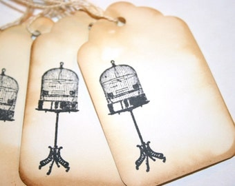 DEASTASH - Vintage Birdcage on Stand - Handmade Rustic Chic Gift Tag Set - Distressed and Stamped Embellishments Gift Wrapping Home Decor