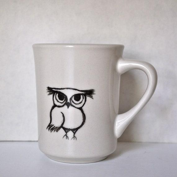 Owly I - Black and White -  Ceramic Coffee Mug Tea Cup - Handpainted and original design