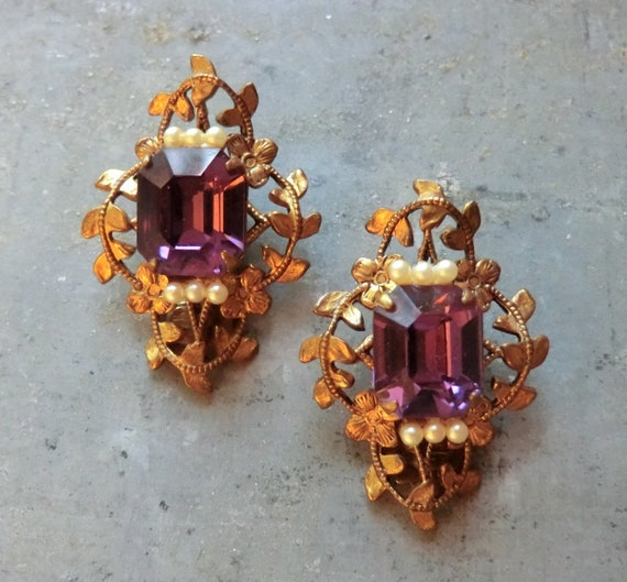 Beautiful Vintage Earrings with Amethyst Glass Stones and Faux Seed Pearls