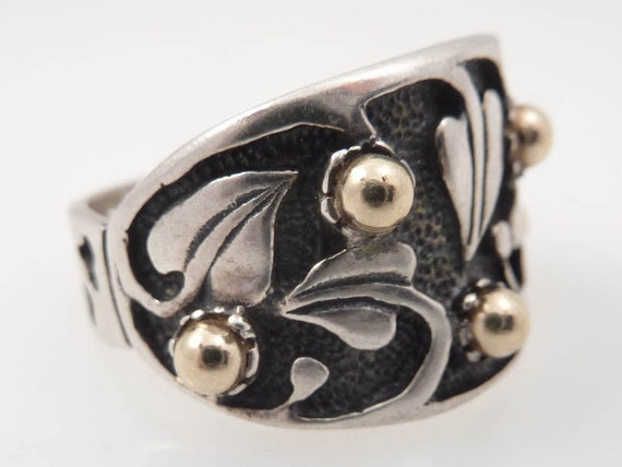 Vintage Israeli Prodesso Sterling and 14K Gold Art Nouveau Ring Size 9