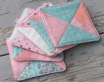 Fabric Drink Coaster Set - Six Quilted Coasters - Pretty and Pink