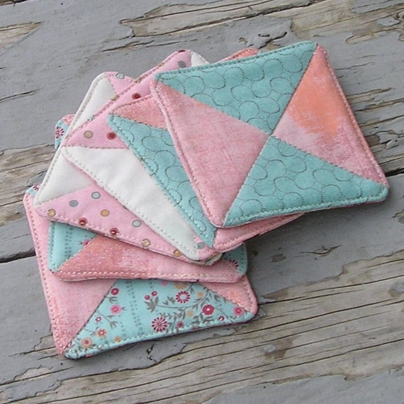 Fabric Drink Coaster Set Six Quilted Coasters Pretty And