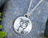 Little Owl necklace - handmade fine silver forest bird charm on a sterling silver chain - rustic woodland fun - free shipping in USA