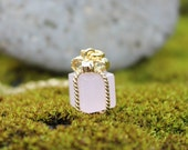 Tiny pink present necklace- Rosewater opal gift box pendant on 14k gold filled chain - free shipping in USA