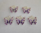 Purple Enamel Butterfly Charms- five charms- silver charms