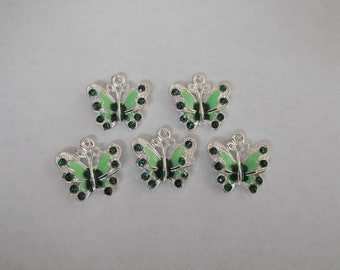 Green Enamel Butterfly Charms- five charms- silver charms