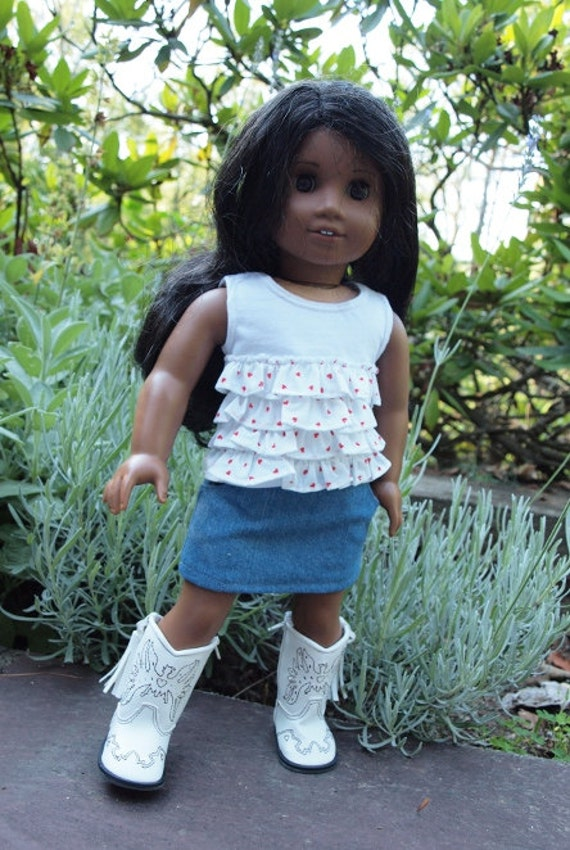 "18"" Doll Clothes - American Girl Doll Clothes  -  18 inch Dolls Clothes - Skirt Outfit - Denim skirt - Ruffle Tank Top"