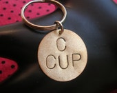 C CUP Keychain--Stamped Disc Keychain, Stamped Keychain, Brass Key Ring, Circle Keychain, Womens Keychain, Breasts, Boobs, Metal Taboo