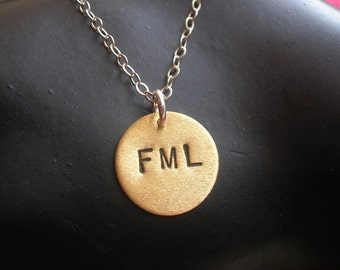Fuck My Life, FML Necklace, Hate, Heart Necklace, Bad Day, Depressed, Bitter, Heart Charm Necklace, Metalwork, Anti Love,Stamped Brass Heart