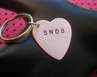 Wine Snob, Rich Bitch, Keychain, Mean Girl, Keys, Beverly Hills, Boss Bitch, Key Ring, Womens Keychain, Copper Heart, Stamped Heart Keychain