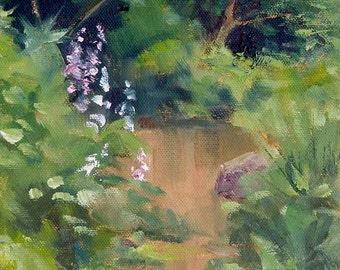 Creek Flowers, 6x6 Original Oil Daily Painting