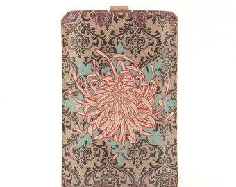 Leather iPhone 6 Case/ iPhone 5s Case/ iPhone 5 Case/ Smartphone case - Chrysanthemum and Blue Star