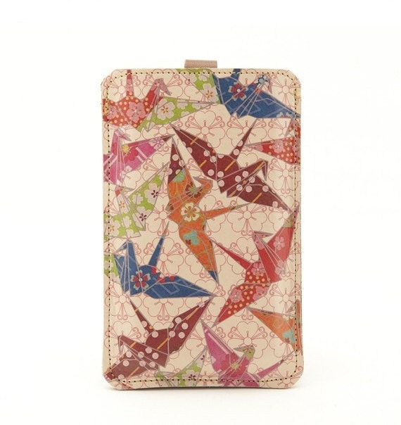 Leather iPhone (ALL) iTouch (All) case - Paper cranes