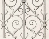 1880 French Antique Engraving of Decorative and Architectural Metalwork. Sanctuary Gate, St. Memmie, Chalons, France. Plate 30