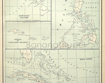 1901 Antique Map of Pacific Islands