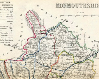 1846 Rare Vintage Map of Monmouthshire, England - Handcolored