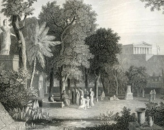 1860 Antique Steel Engraving of All Things Grecian. Philosophers Garden in Athens, Furniture, Tools