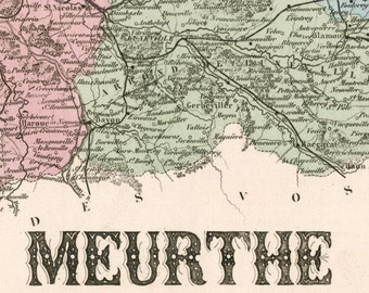 Antique Map of Meurthe, France - Hand-Coloured - 1883 Illustrated Map - Vintage Map - Home Decor
