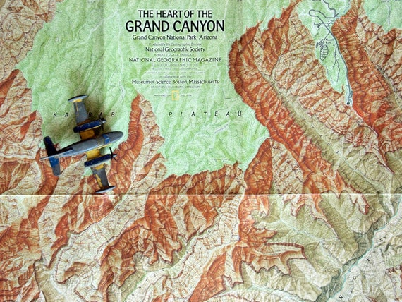 1978 Poster-sized Vintage Map of the Grand Canyon. From National Geographic