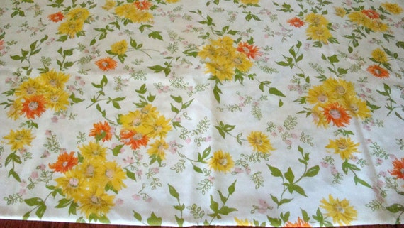 Vintage Floral Pillowcase Yellows / Reclaimed Linens