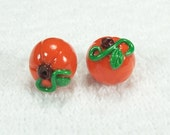Pumpkin with Vines -  Polymer Clay Beads SMALL Size
