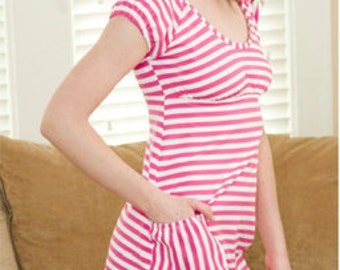 Striped Cotton Knit Nightgown with Pocket
