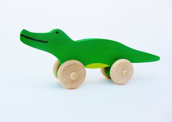 Alligator Push Toy-  Wooden Eco Friendly Waldorf Crocodile