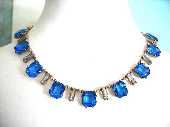 Art Deco sterling silver crystal necklace c1920's-1930's-reviere-choker-vintage costume jewelry-cornflower blue sapphire