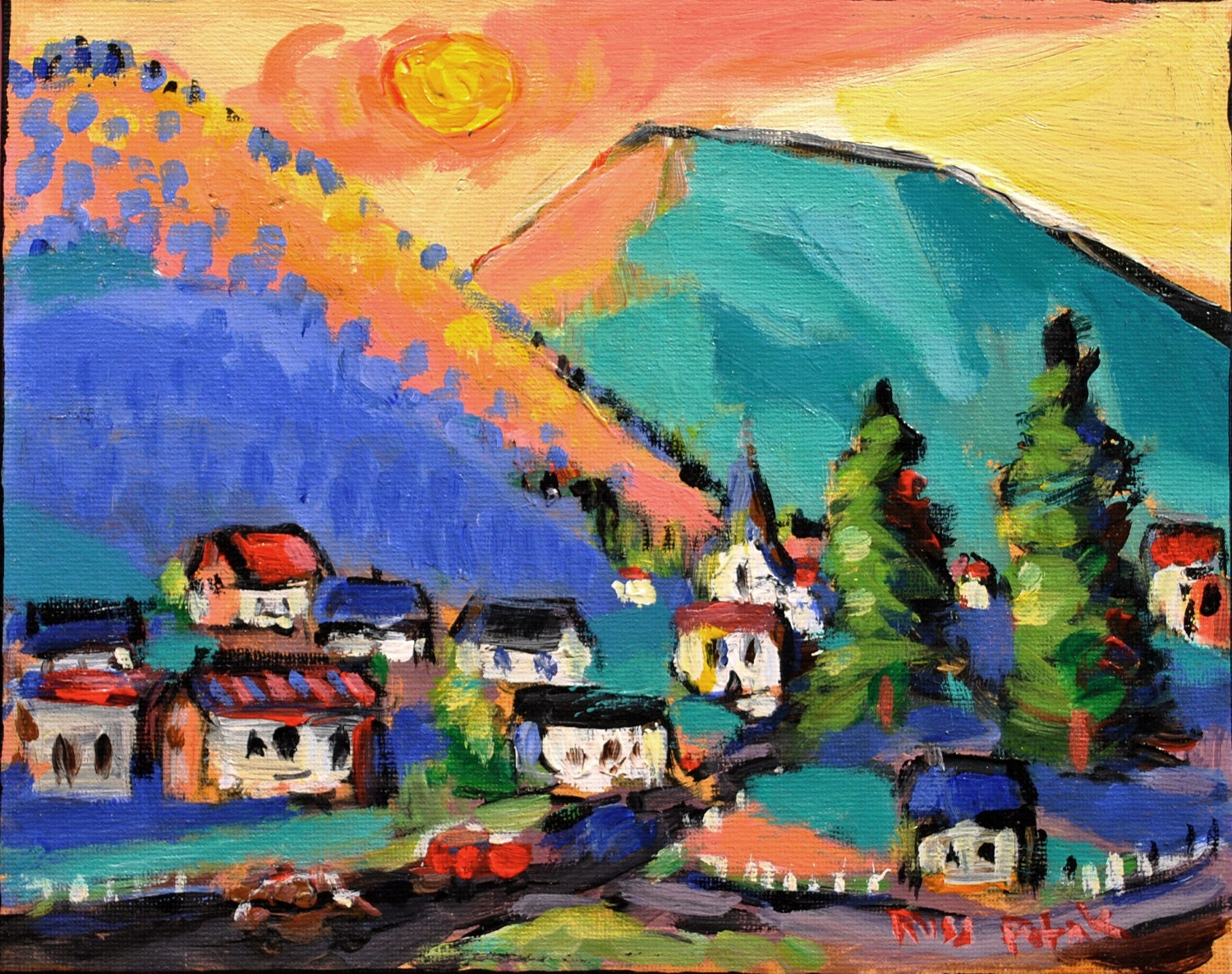 Canvas Santa Fe >> Abstract Landscape Expressionist Painting Village Town