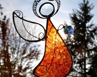 Warm Glow Angel of Love Stained Glass Suncatcher