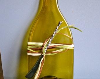 Pale Olive Recycled Slumped Wine Bottle