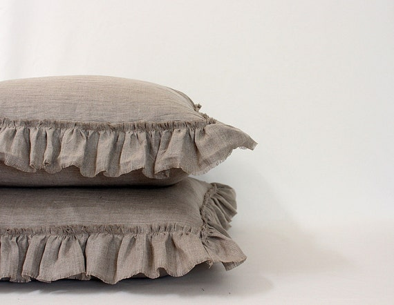 LILY...SQUARE SHAMS ..set of 2 with frayed ruffle.